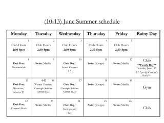 (10-13) June Summer schedule