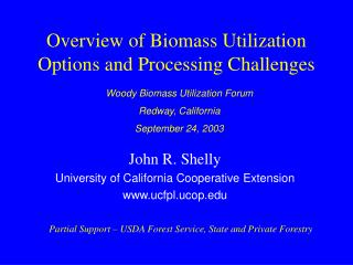 Overview of Biomass Utilization Options and Processing Challenges