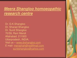 Meera Shangloo homoeopathic research centre