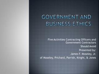 Government and Business Ethics