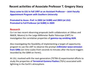 Recent activities of Associate Professor T. Gregory Stacy
