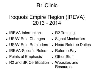 R1 Clinic Iroquois Empire Region (IREVA) 2013 - 2014