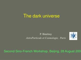 T he dark universe