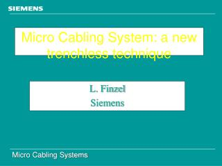 Micro Cabling System: a new trenchless technique