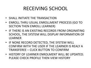 RECEIVING SCHOOL