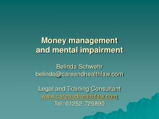 Money management  and mental impairment