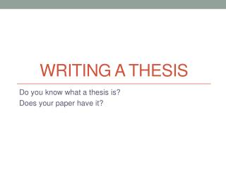 Writing a thesis