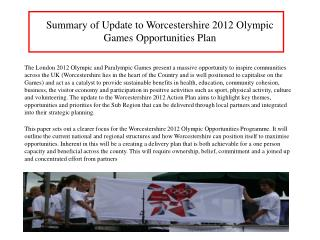 Summary of Update to Worcestershire 2012 Olympic Games Opportunities Plan