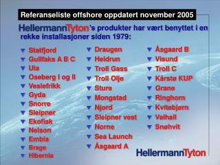 Statfjord Gullfaks A B C Ula Oseberg I og II Veslefrikk Gyda Snorre Sleipner  Ekofisk Nelson Embla