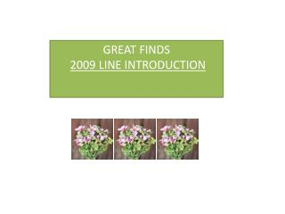 GREAT FINDS  2009 LINE INTRODUCTION