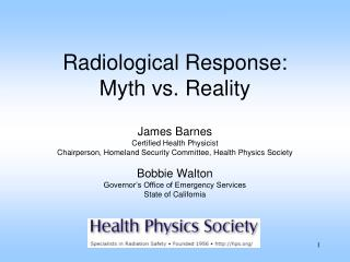 Radiological Response: Myth vs. Reality