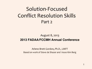 Solution-Focused  Conflict Resolution Skills Part 2
