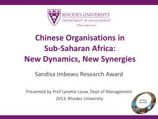Chinese Organisations in  Sub-Saharan Africa: New Dynamics, New Synergies