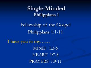 Single-Minded Philippians 1