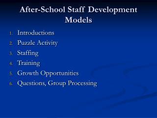 After-School Staff Development Models