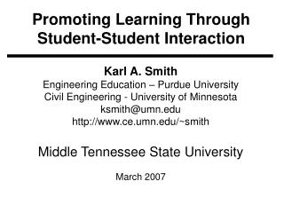 Promoting Learning Through Student-Student Interaction