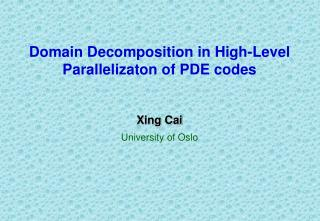 Domain Decomposition in High-Level Parallelizaton of PDE codes