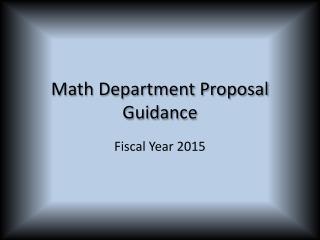 Math Department Proposal  Guidance