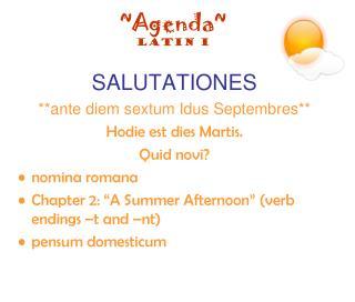 ~Agenda~ Latin I