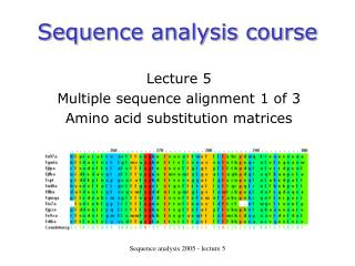 Sequence analysis course