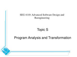 Lecture 13 Program Analysis and Transformation