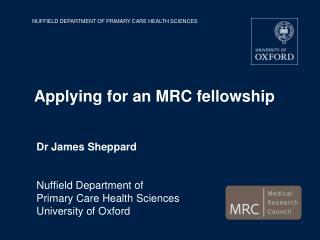 Applying for an MRC fellowship