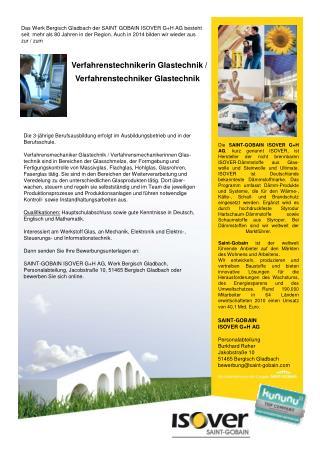 SAINT-GOBAIN  ISOVER G+H AG Personalabteilung Burkhard Reher Jakobstraße 10
