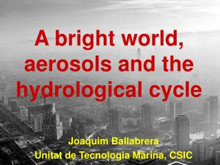 A bright world, aerosols and the hydrological cycle