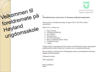 Velkommen til foreldremøte på Høyland ungdomsskole