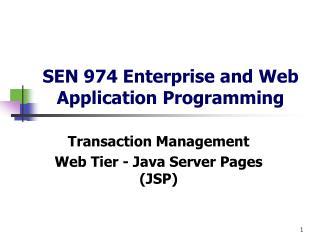 SEN 974 Enterprise and Web Application Programming