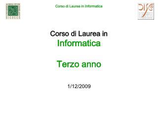 Corso di Laurea in Informatica Terzo anno