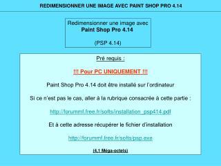 Redimensionner une image avec Paint Shop Pro 4.14 (PSP 4.14)