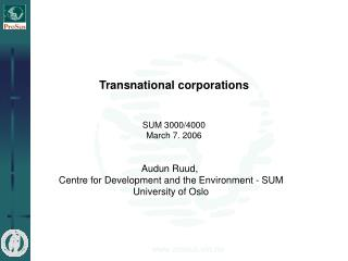 Transnational corporations SUM 3000/4000 March 7. 2006