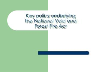 Key policy underlying the National Veld and Forest Fire Act