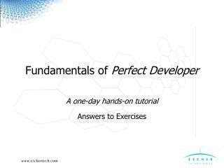 Fundamentals of  Perfect Developer