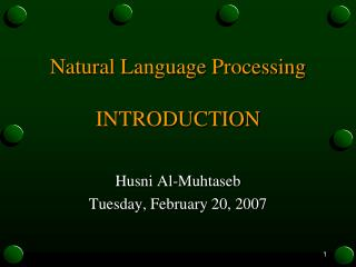 Natural  Language Processing INTRODUCTION