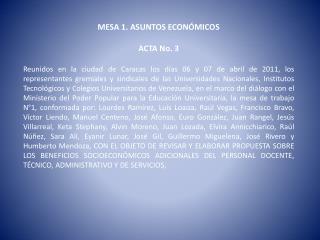 MESA 1. ASUNTOS ECONÓMICOS ACTA  No. 3