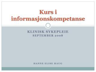 Kurs i informasjonskompetanse