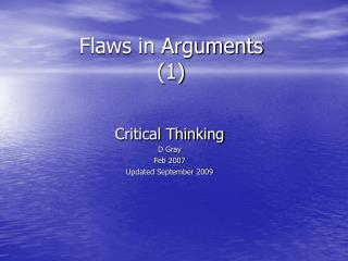 Flaws in Arguments (1)