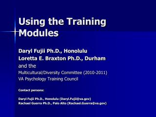 Using the Training Modules