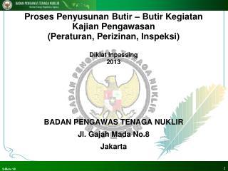 BADAN PENGAWAS TENAGA NUKLIR Jl. Gajah Mada No.8 Jakarta