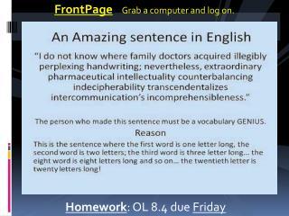 Homework : OL 8.4 due  Friday