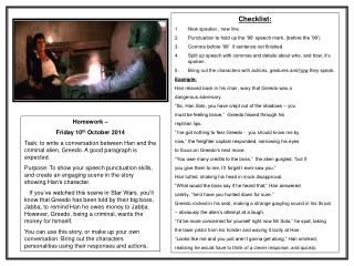 Homework –  Friday 10 th  October 2014