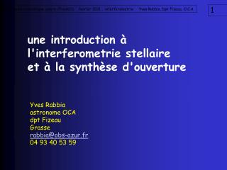une introduction à l'interferometrie stellaire  et à la synthèse d'ouverture
