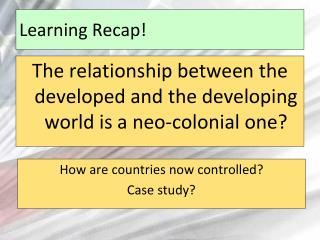 Learning Recap!