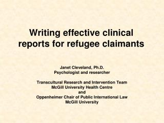 Writing effective clinical reports for refugee claimants