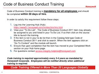 Code of Business Conduct Training