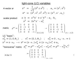 light-cone (LC) variables