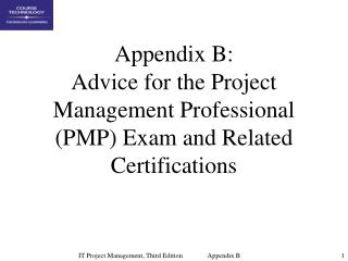 Appendix B: Advice for the Project Management Professional PMP Exam and Related Certifications