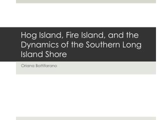 Hog Island, Fire Island, and the Dynamics of the Southern Long Island Shore